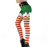 Elf Skirt Christmas Theme Print Leggings (Green shorts Red socks)