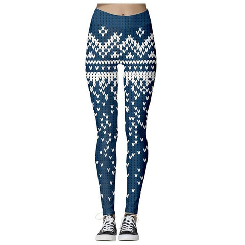 Christmas Theme Print Leggings (Blue)