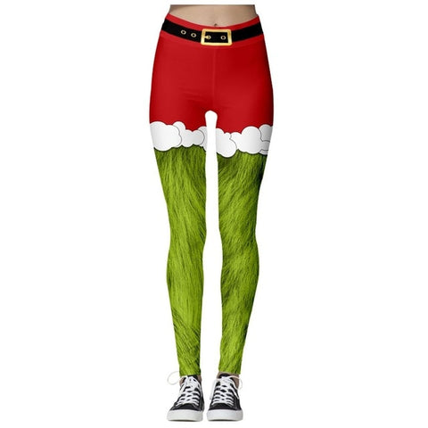 Christmas Theme Print Leggings (Red shorts with furry Green legs)