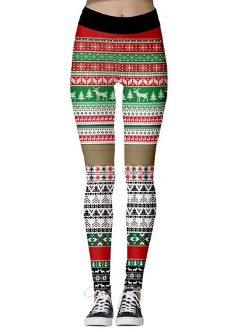 Christmas The Print Leggings (Red, Green and Gold)
