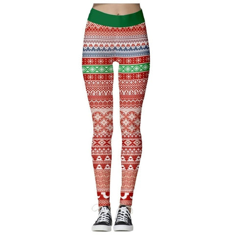Christmas Theme Print Leggings (Red)
