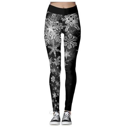 Christmas Theme Print Leggings (Black and White)