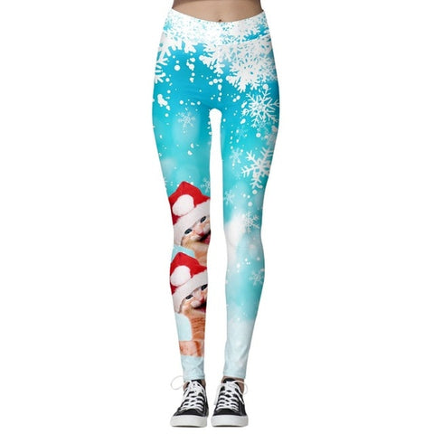 Christmas Print Leggings (Blue with Cats)