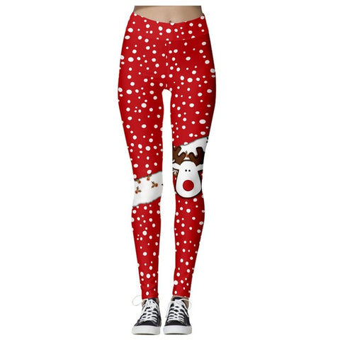 Christmas Theme Print Leggings (Red and Rudolph)