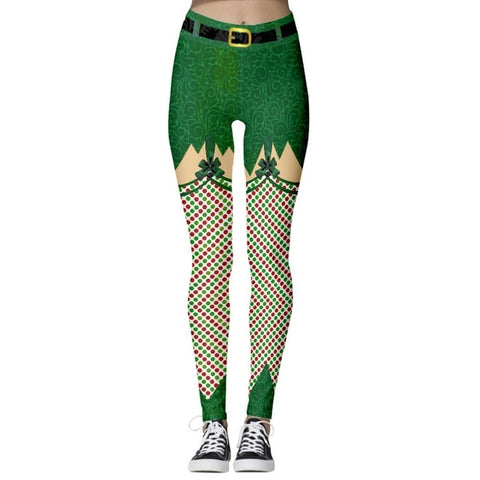 Christmas Theme Print Leggings (Green with Stockings)