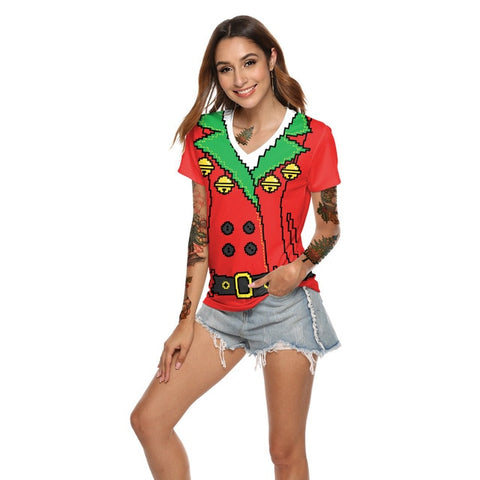 Funny Novelty Christmas T-Shirt (Red and Green)