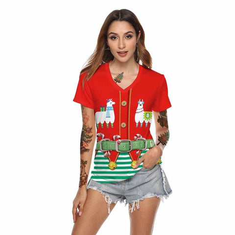 Funny Novelty Christmas T-Shirt (Red)
