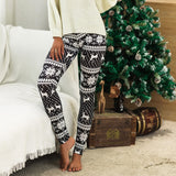 Casual Winter Print Leggings ( Black)