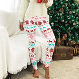 Casual Winter Print Leggings (White and Red)