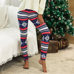 Casual Winter Print Leggings (Blue and Red)