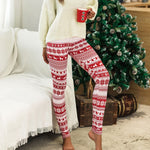 Casual Winter Print Leggings (Red and White)