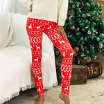 Casual Winter Print Leggings (Red)