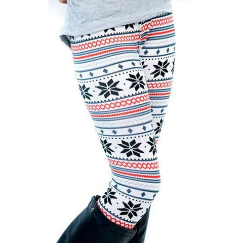 Winter Theme Print Leggings (White, Blue and Red)
