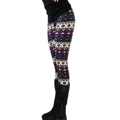 Winter Theme Print Leggings (Purple)