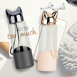 Fox Ears Glass Water Bottle with Silicone Cover (350ml)