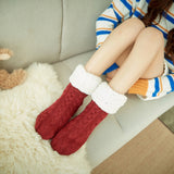 Fluffy Warm Bed Socks (Red)