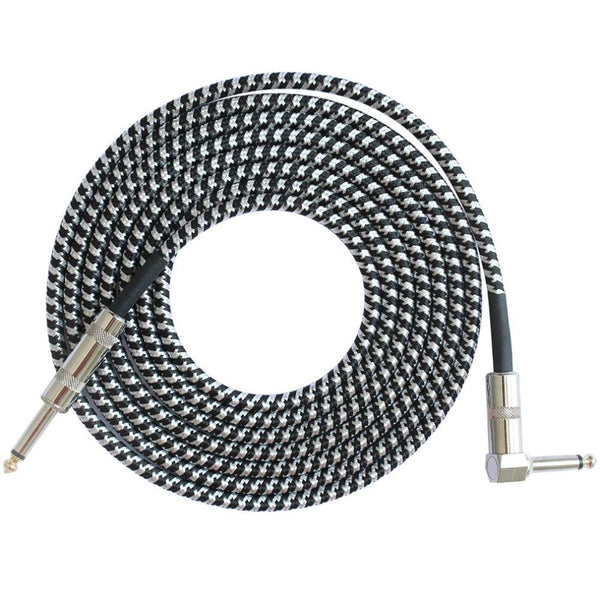 "10' Knitted Guitar Cable 1/4"" Guitar Accessories Fuzz Audio BlackWhite United States"