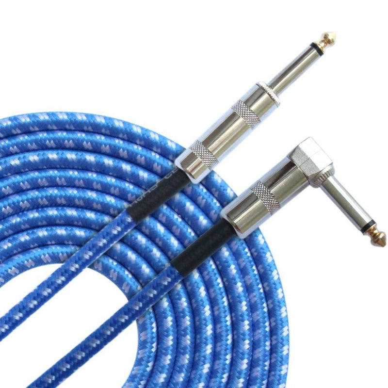 "10' Knitted Guitar Cable 1/4"" Guitar Accessories Fuzz Audio BlueWhite United States"