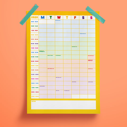 2020 3 Part Wall Planner - the-poppy-lane