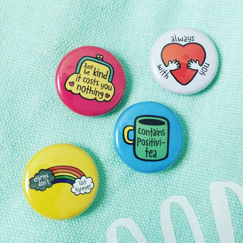 Pack of 4 Mini Pin Badges