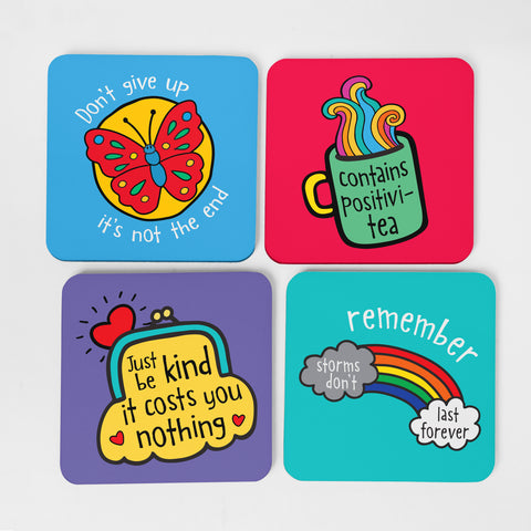 4 Colourful Coasters with positive illustrations