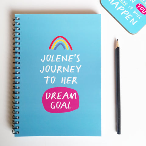 "Personalised ""Journey to Dream Goal"" A5 Notebook"