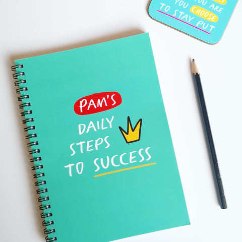 "Personalised ""Daily Steps to Success"" A5 Notebook"