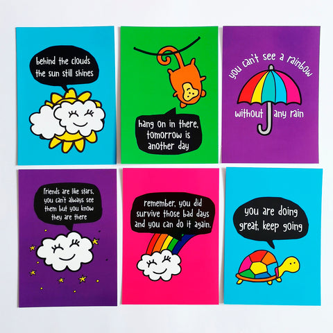 Pack of 6 Positive Message Postcards with envelopes
