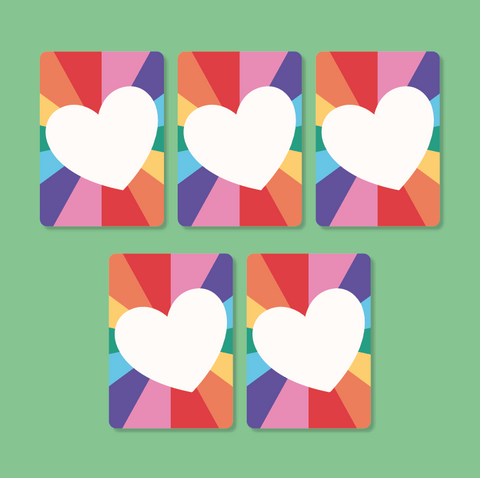 Pack of 5 Rainbow Heart Postcards