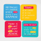 4 Colourful Coasters with encouraging messages