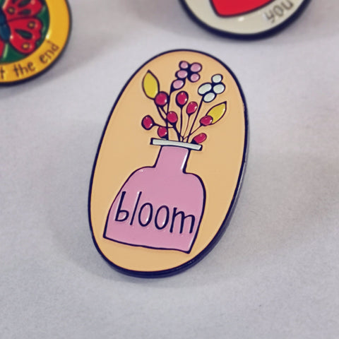 Bloom Flowers in Vase Enamel Pin