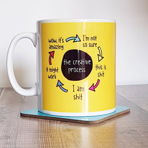 Creative Process Colourful Yellow Mug for a creative person - the-poppy-lane