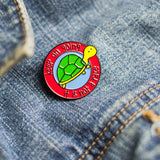 Cute tortoise Keep on Going Encouragement enamel pin - the-poppy-lane