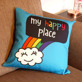 My Happy Place Blue Rainbow Cushion Cover - the-poppy-lane