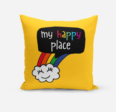 My Happy Place Yellow Colourful Rainbow Cushion Cover - the-poppy-lane