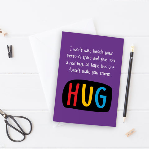 Thinking of you card for someone who doesn't do hugs - the-poppy-lane