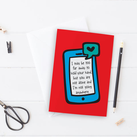 Far away phone message Thinking of You Card - the-poppy-lane