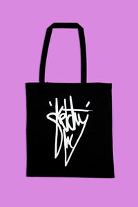 Sketchy Moon Screen Printed Tote Bag