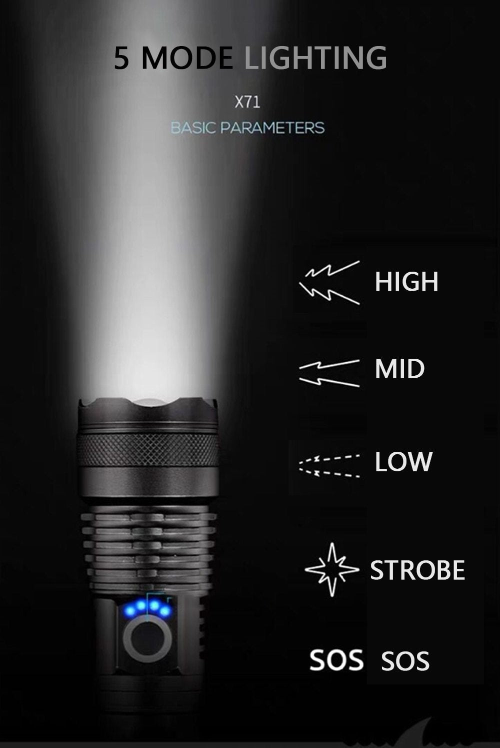 120,000 lumens powerful flashlight