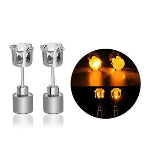led blinking studs earrings