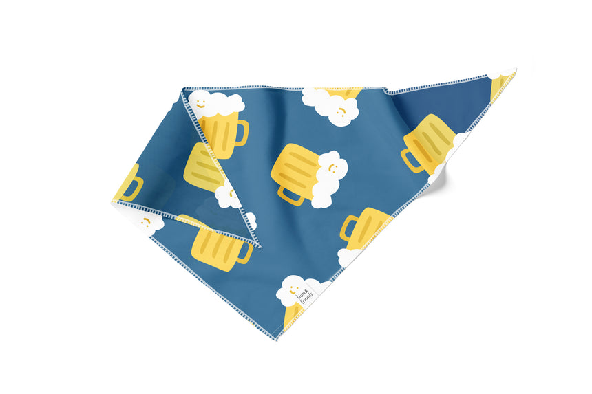 Beer Navy Blue Pattern Bandana