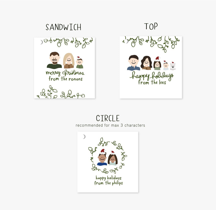 Personalized Holiday: Family Portrait Gift Tags