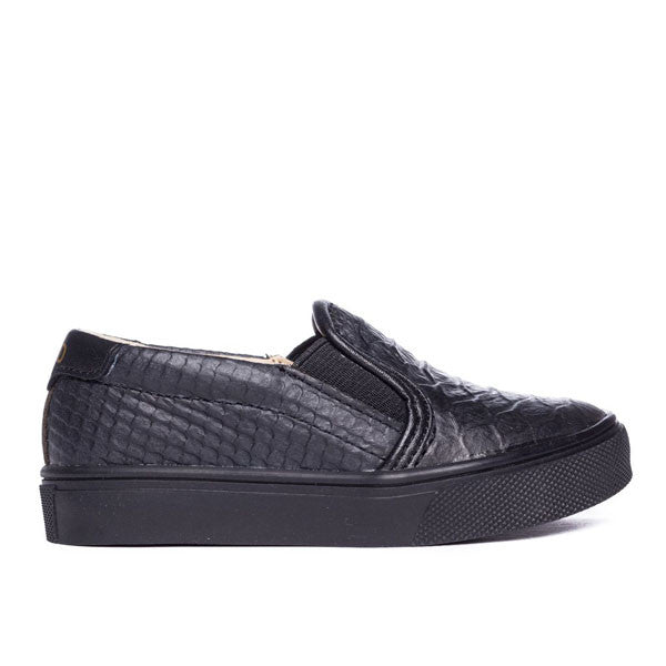 Liv Skate Slip-On Sneaker ▲ Black on Black Snake