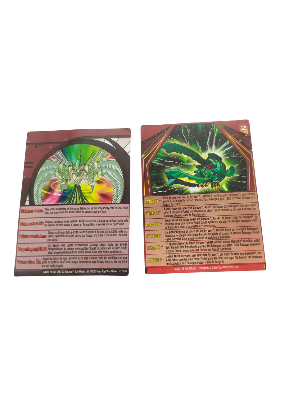 BAKUGAN BATTLE BRAWLERS - COLOR RED- gyrazor and rainbow prism