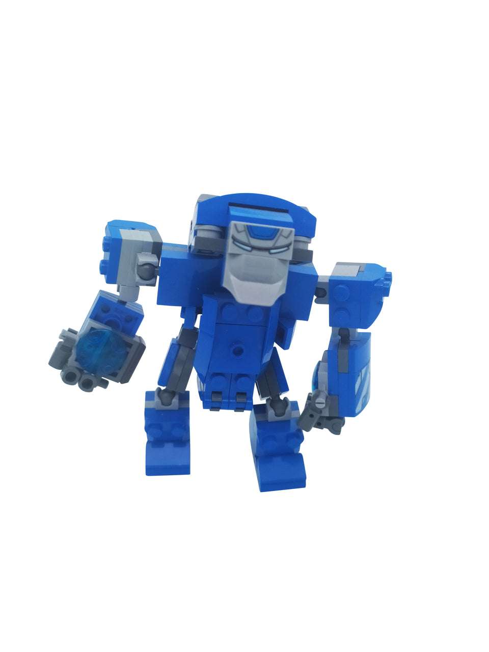 special set of a Blue Lego robot of the Iron Man