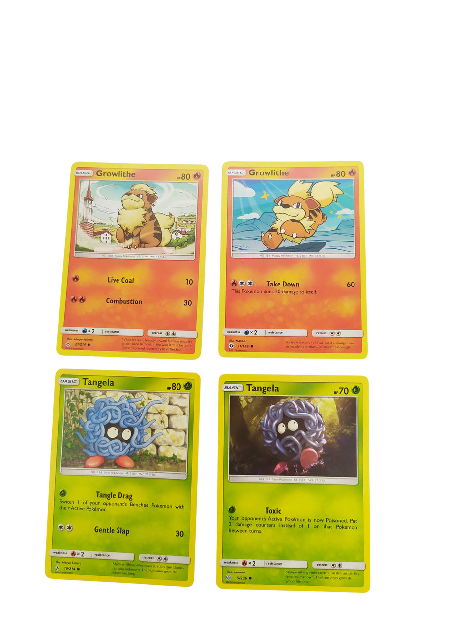 4 LOT CARDS OF Growlithe AND Tangela  - pokemon