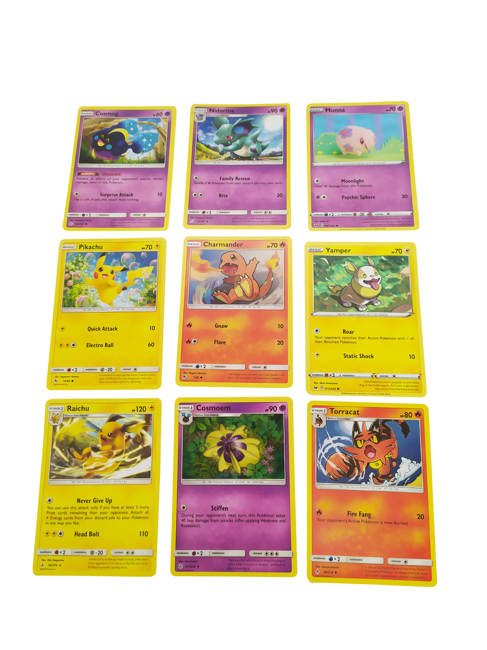 9 lot of pokemon cards - included : Cosmog , Pikachu , Raichu , cosmoem , Charmander , Nidorina , Munna , Yamper , Torracat