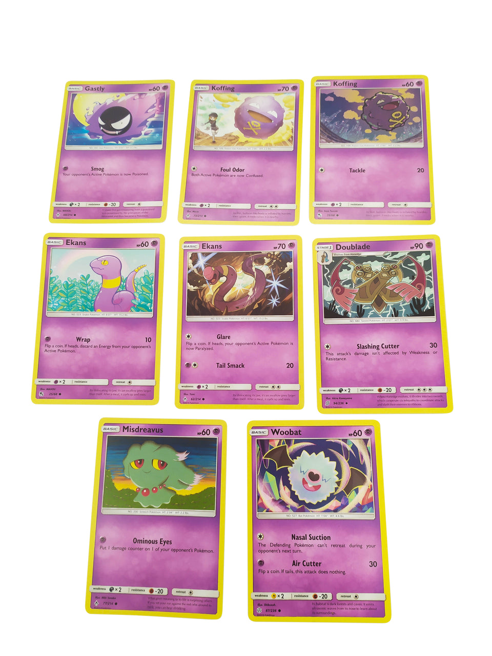 8 lot of pokemon cards - included : Gastly , Ekans , Misdreavus , Woobat , Doublade , Koffing