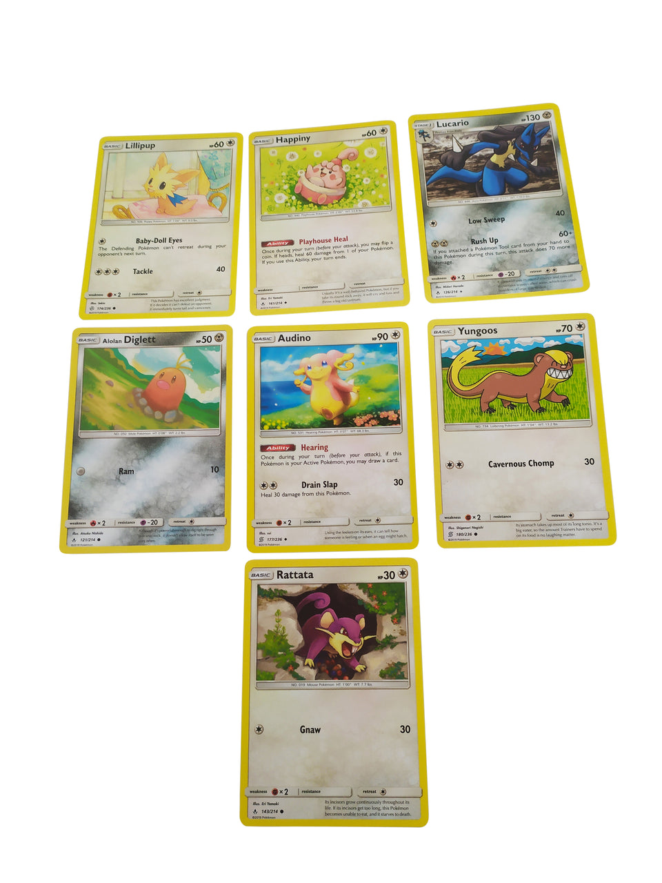 7 lot of pokemon cards - included : Lillipup , Diglett , Audino , Happiny , Lucario , Yungoos , Rattata