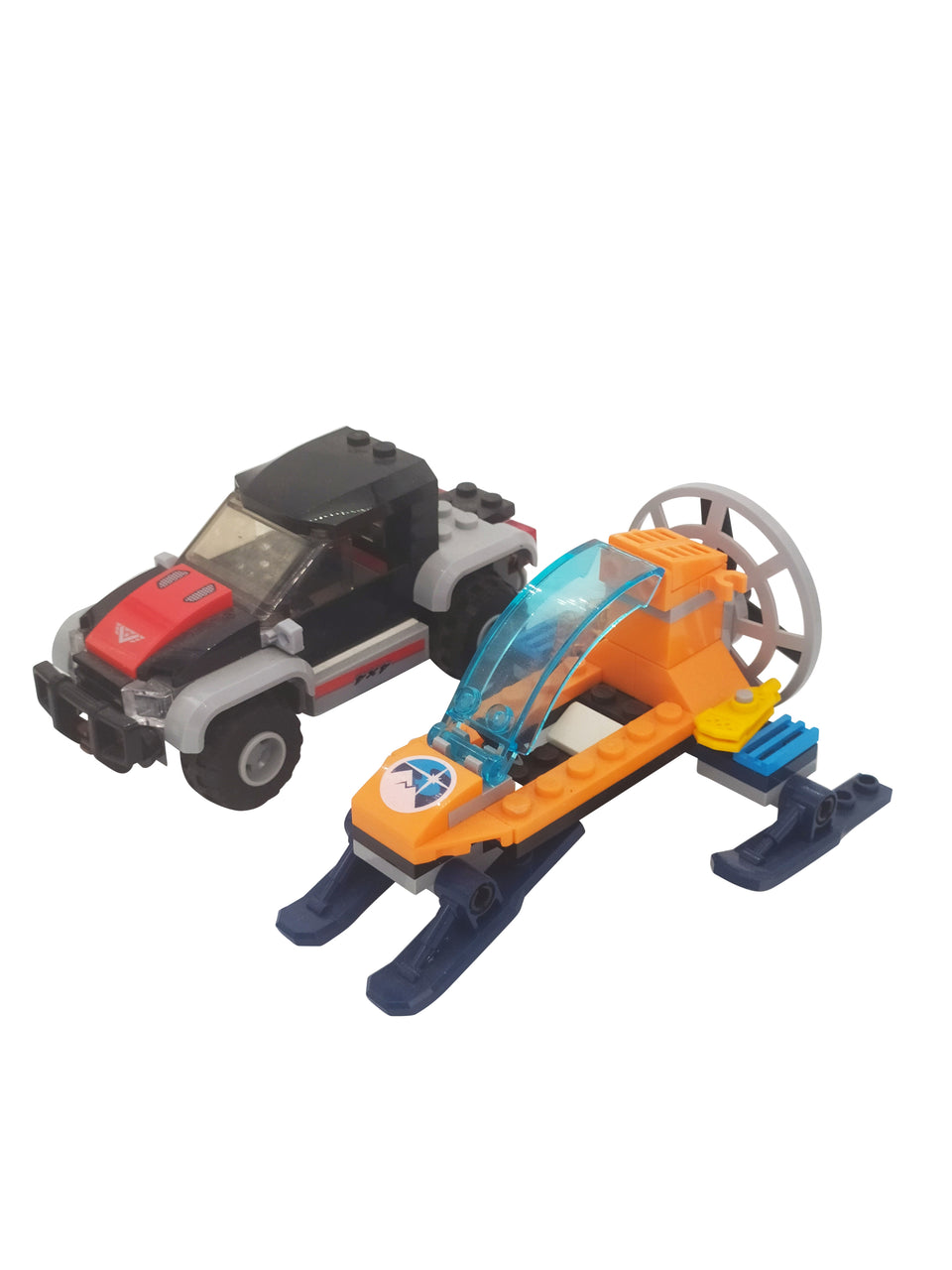 Lego car and  Snowmobile